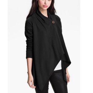 BOBEAU Black Asymmetrical Fleece Shawl Cardigan